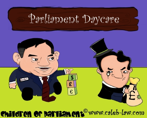 Political Cartoon Gordon Brown and George Osborne