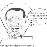 David Cameron's World Trip – PM Visit's Silvio Berlusconi Rome Political Cartoon