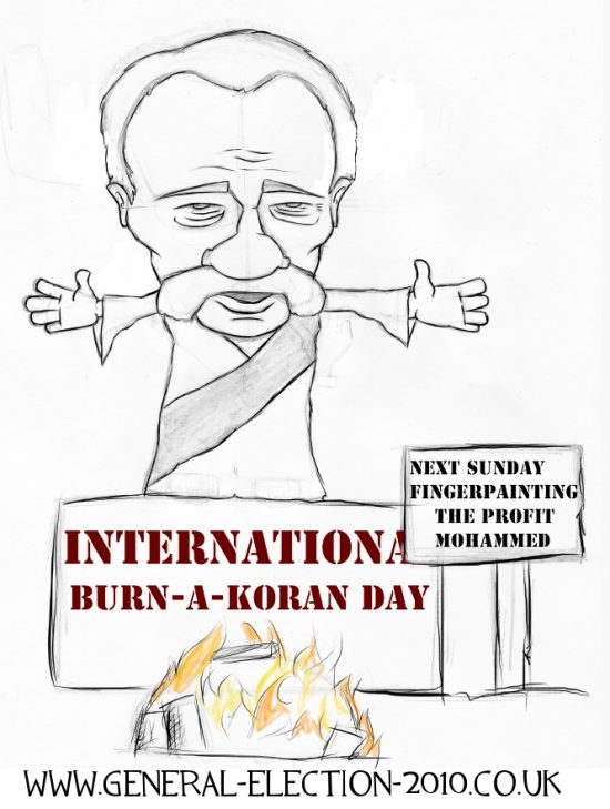 Pastor Terry Jones Burn-a-Koran Day Political Cartoon