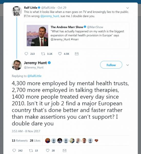 Ralf Little vs Jeremy Hunt Tweets